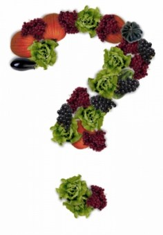 Question mark formed of fruits and vegetables in fall colors