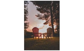 Nature Chairs Lawn Grass Lake Trees Landscape