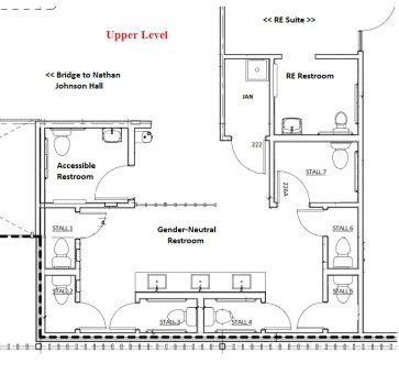 Architectural drawing of new upstairs restrooms