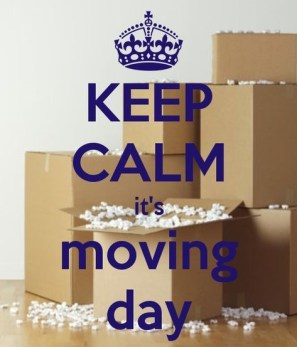"Pile of boxes with ""Keep Calm - It_s Moving Day"""