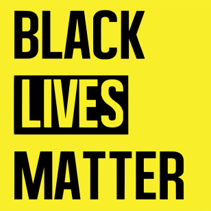 BLACK LIVES MATTER in black type on a bright yellow background