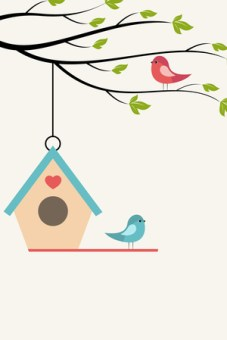 Birdhouse with a heart and two birds