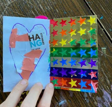 Art zine: collaged heart and multicolor stars