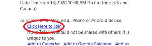 "Screen shot with ""Click Here to Join"" circled"