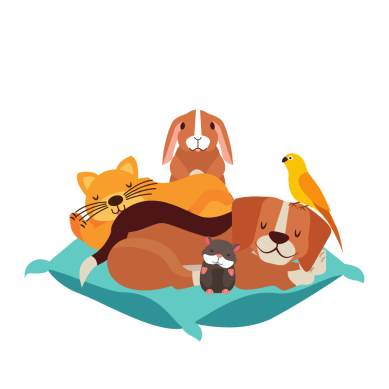Clip art of a dog, cat, rabbit, parrot and hamster all cuddling on a pillow