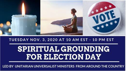 Spiritual Grounding on Election Day - candle, woman meditating, VOTE button