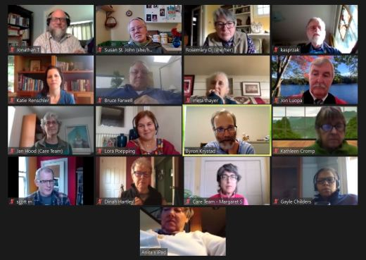 Screen shot of a Zoom meeting with 17 participants