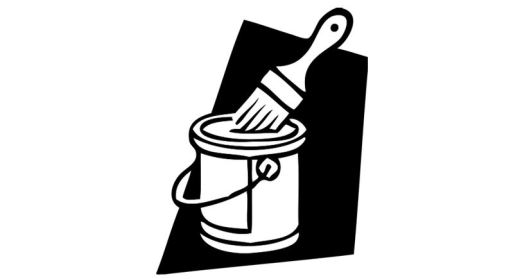 Clip art of paintbrush and paint can