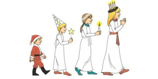 Drawing of four kids in a Santa Lucia procession