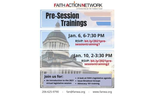 Poster for January 2021 Faith Action Network Pre-Session Trainings