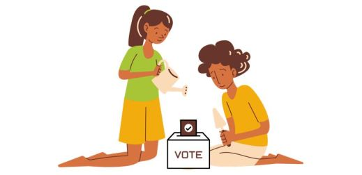 Clip art of a girl and boy tending a ballot box with a trowel and watering can