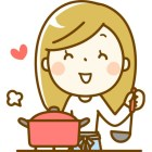 Clip art of smiling young woman with soup pot and ladle