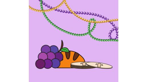 Clip art of Mardi Gras beads, grapes, a loaf of bread and discs with a cross
