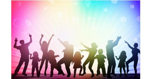 Silhouettes of adults and kids dancing against a radiant background