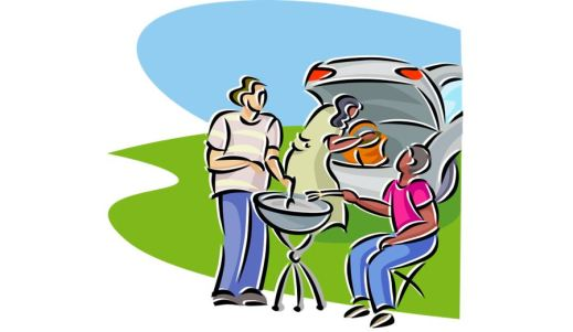 Clip art of three people behind car with trunk open