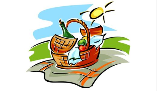Clipart of a picnic basket on a blanket in the sunshine