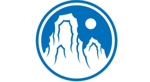 Logo for the Empty Moon Zen Sanghas - white mountains and moon in a blue circle