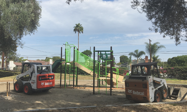 New play structure on UUCLB grounds with digging machinery