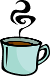 cartoon of steaming cup of coffee