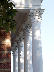 columns at front of Meetinghouse