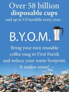 poster asking people to bring their own coffee mug