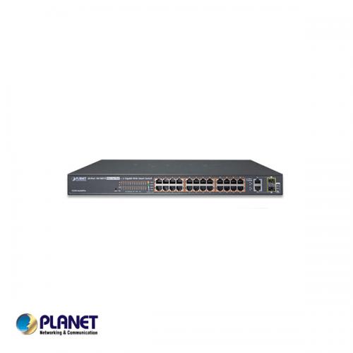 "Planet 19"" 24 poort switch / 24*Hi PoE / 4 Gigabyte - 2/2TP/SFP poorten"