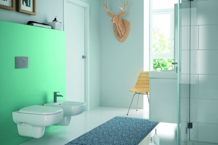 Sphinx Rimfree Toilet : Antraciet met keramisch parket strak en sfeervol sphinx rimfree