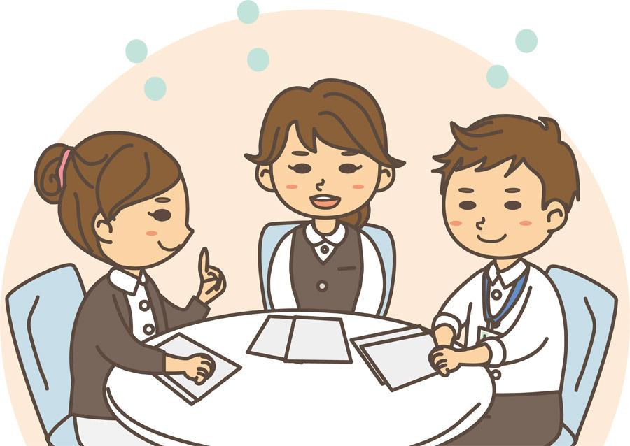 ミーティング中の3人の会社員