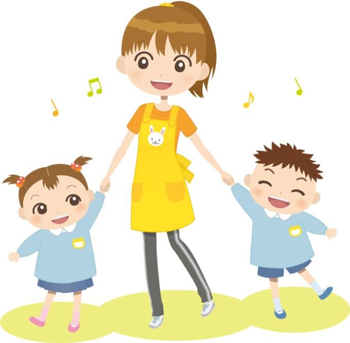 幼稚園の先生と園児