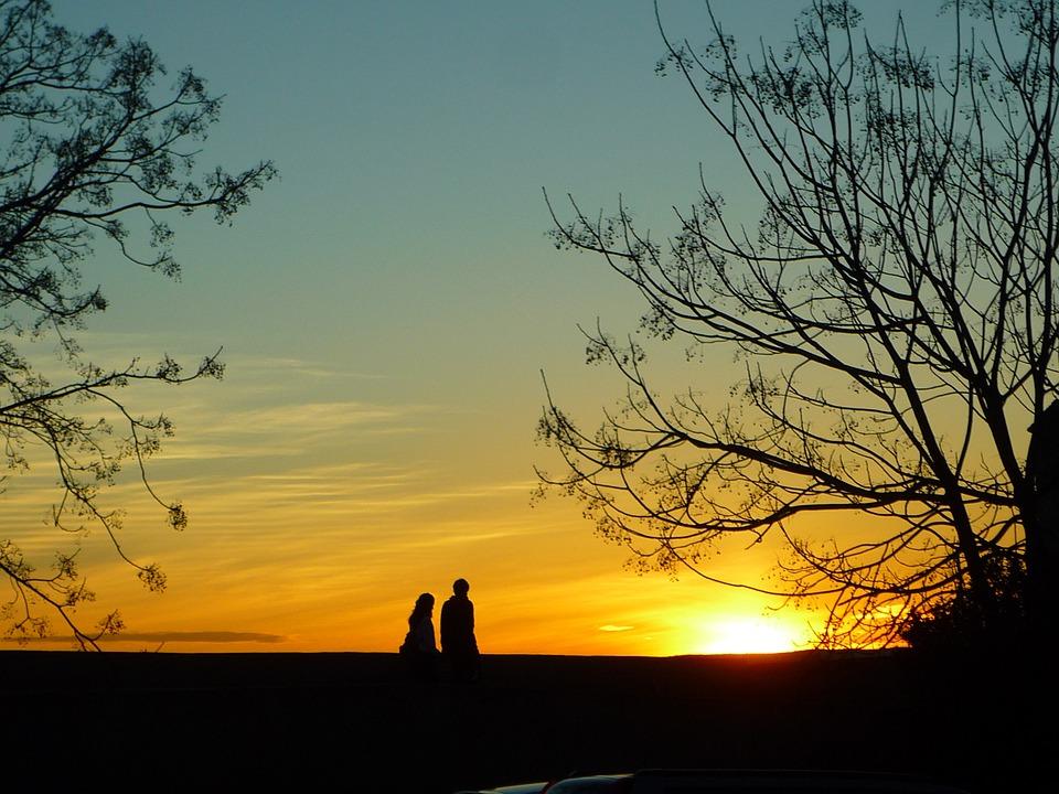 壁 日没 木 空 光 太陽 冬 日当たりの良い カップル ロマンチック 海外留学