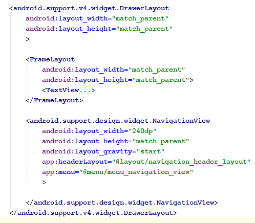 Navigation view code snippet