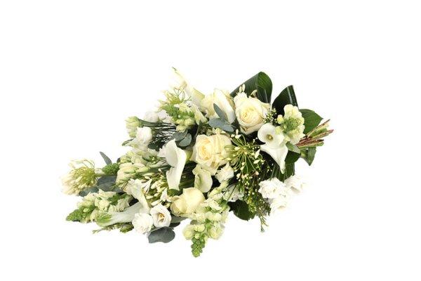 Wit rouwboeket | betaalbaar | uwbloemenman.nl