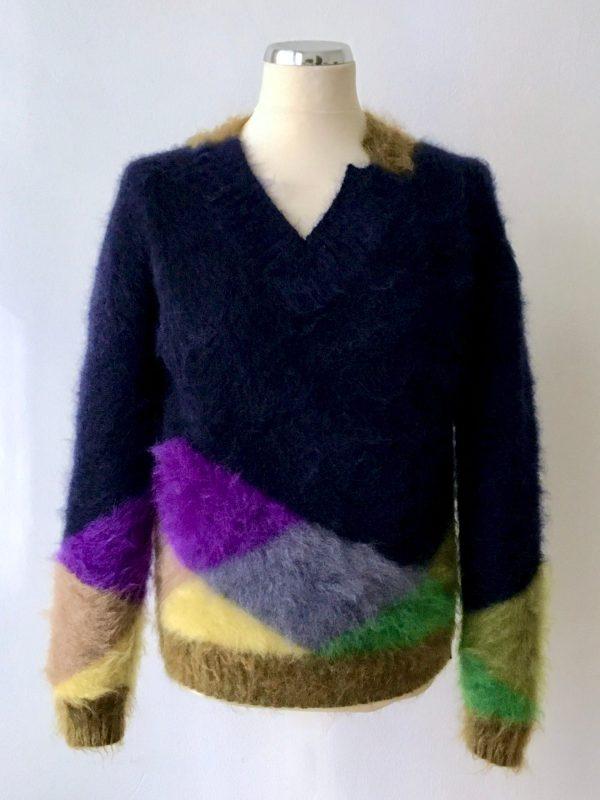 Half-Venice, Kid-Mohaire, Kaschmir und Merinowolle in Verbindung mit Bunte Rauten,. uwe urbansky handmade knitwear