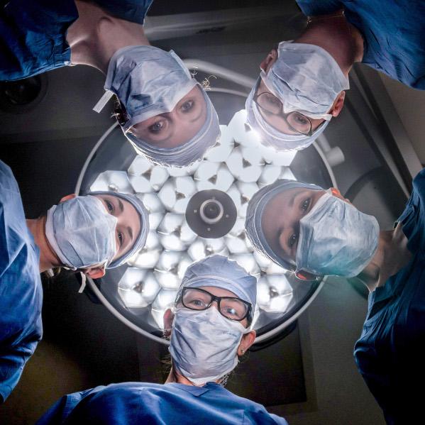 UW Health surgeons Amy Liepert, Angela Ingraham, Ann O'Rourke, Emily Winslow and Susan Pitt. Photo by John Maniaci, UW Health.