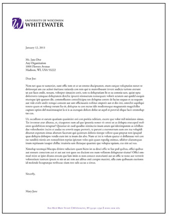 Letterhead and Fax Templates | University of Wisconsin-Whitewater