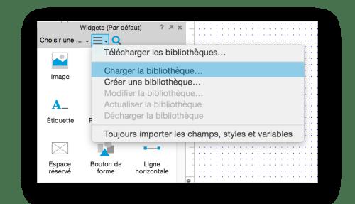 Pour charger la bibliothèque, cliquer sur Charger la bibliothèque dans l'option du panneau widget.