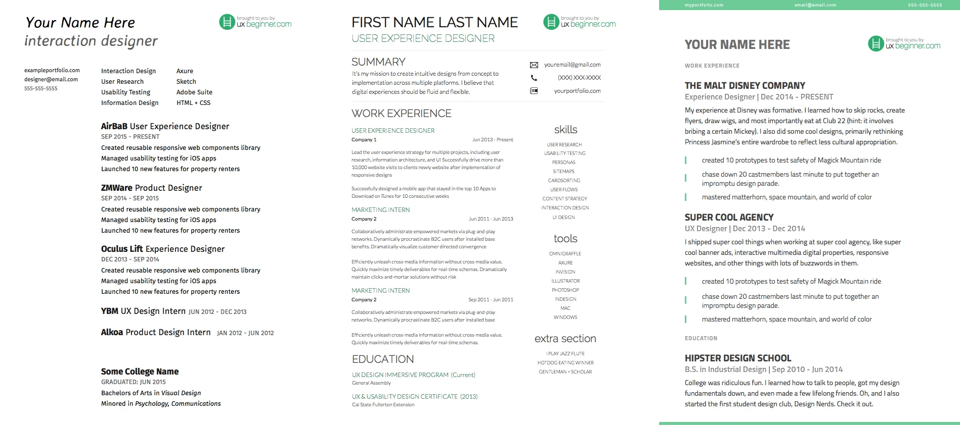 3 ux resume templates side by side
