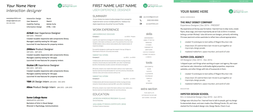 3 UX Resume Templates Side By