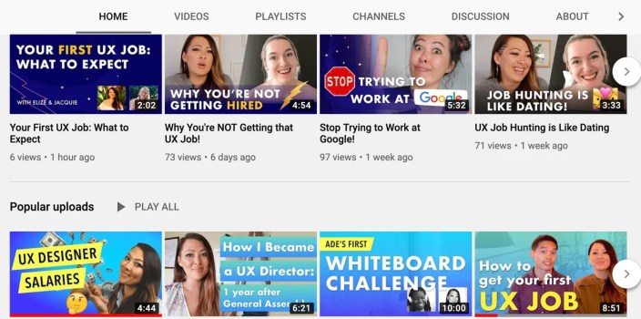 Elize UX Youtube Channel feed