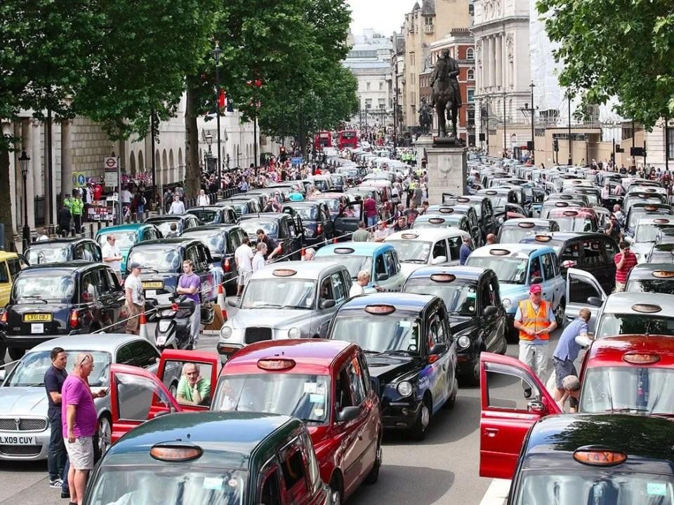 Uber protest black cab