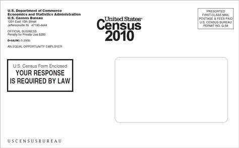 US 2010 Census envelope