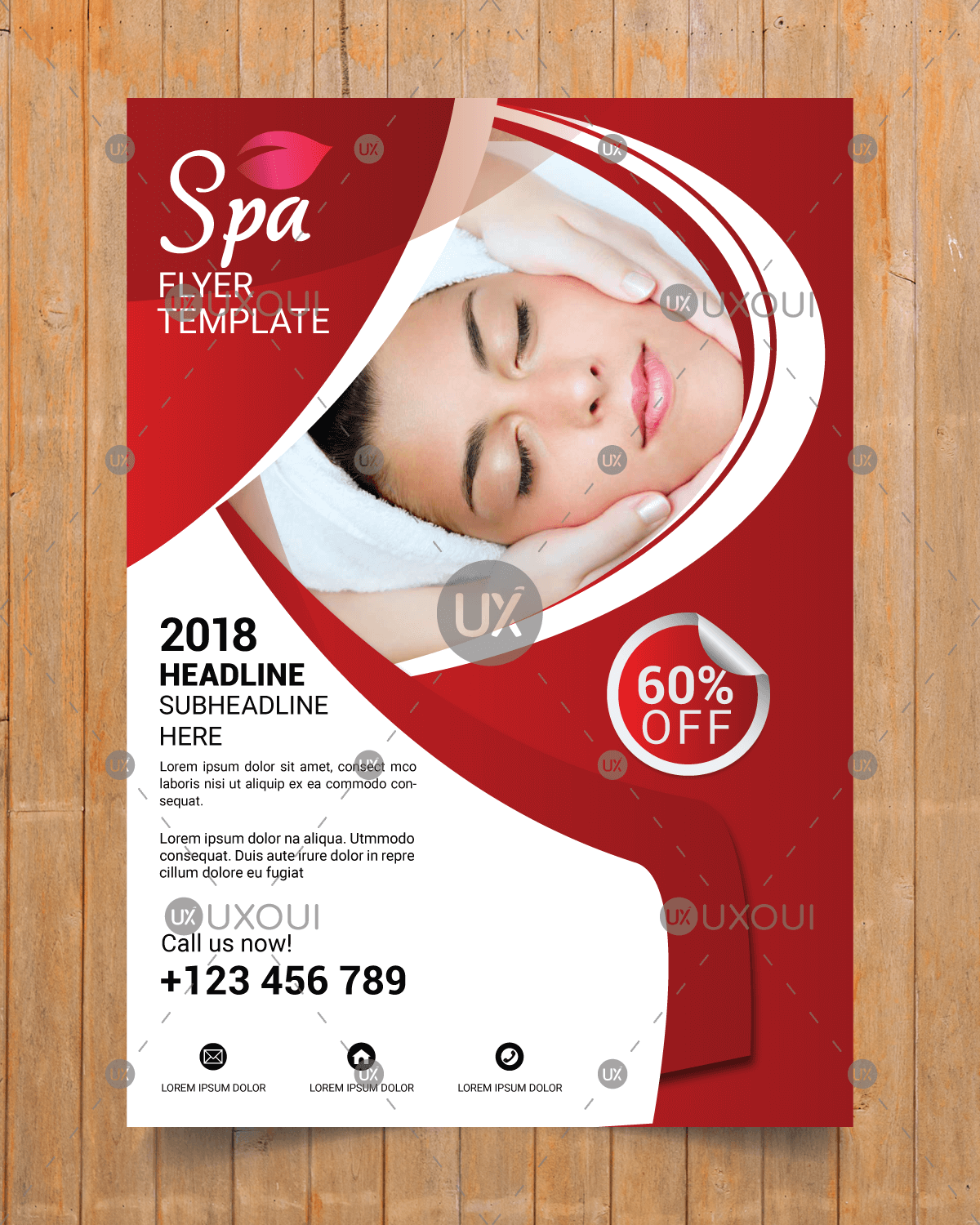Beauty Wellness Spa Center Business Flyer Template Design Vector