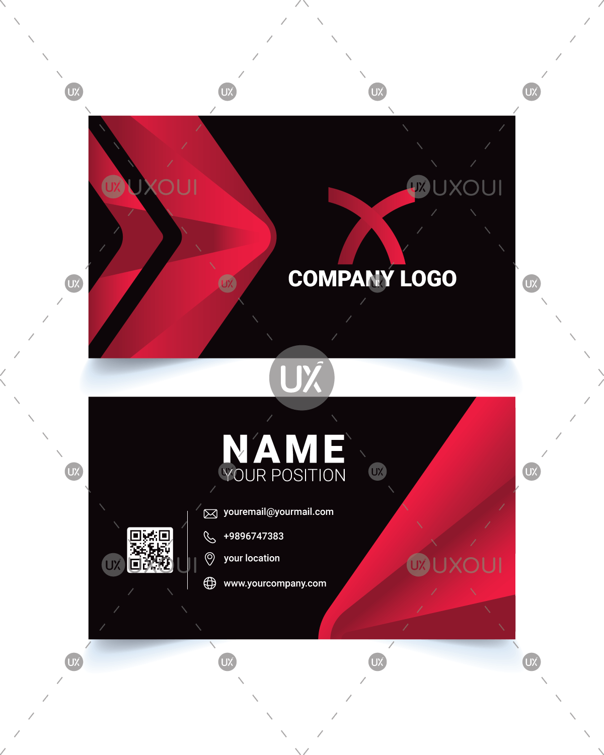 Black red business card template design with creative abstract black red business card template fbccfo