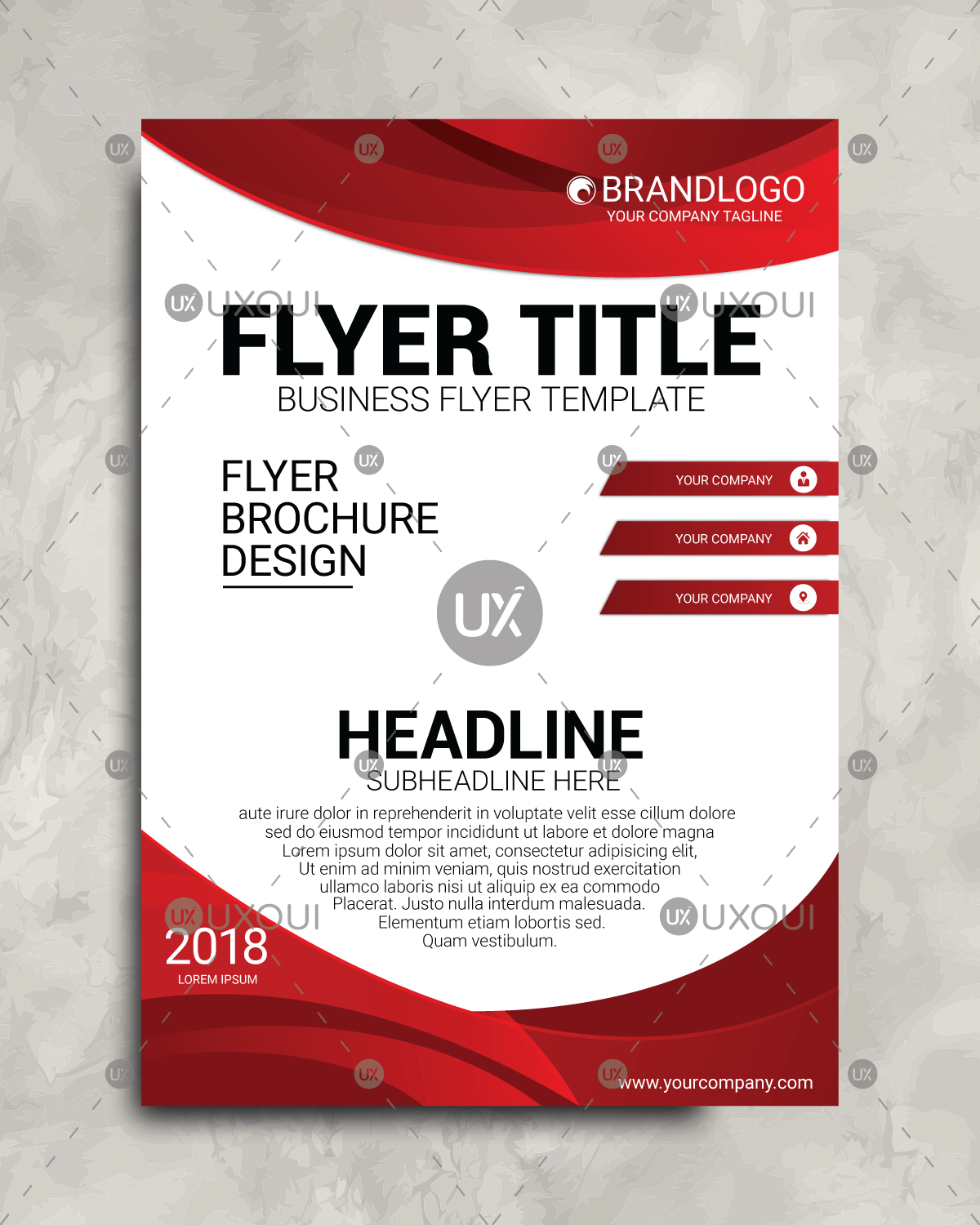 business flyer design with white red color in abstract background
