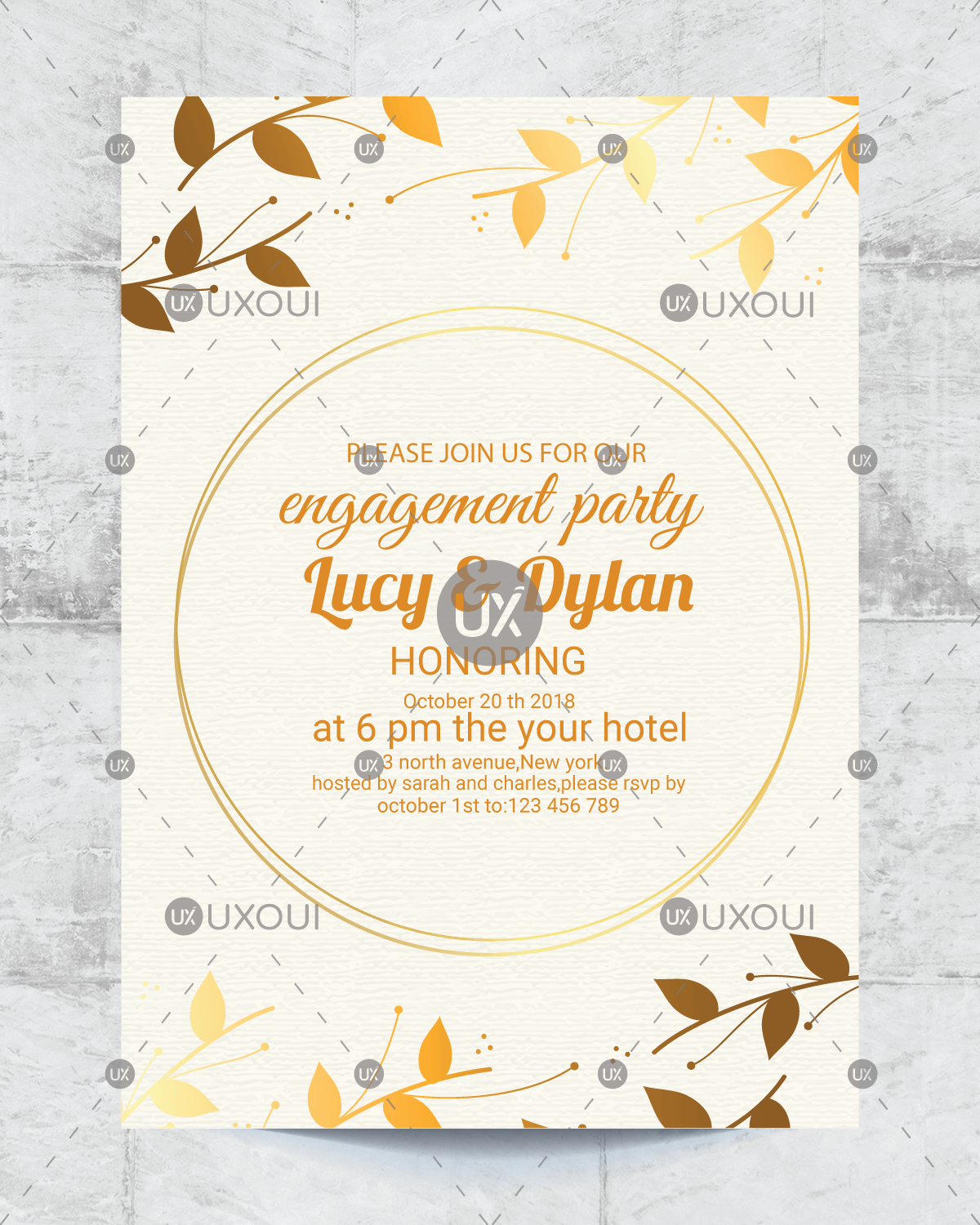 Floral Wedding Engagement Party Invitation Card Design Template Vector