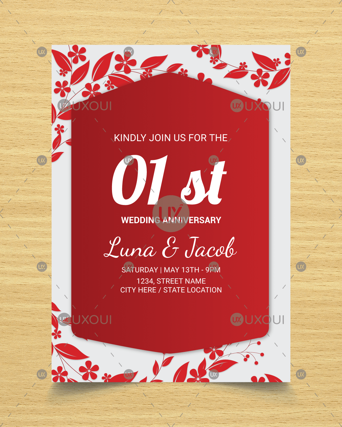 Happy wedding anniversary invitation card design with flowers vector ...