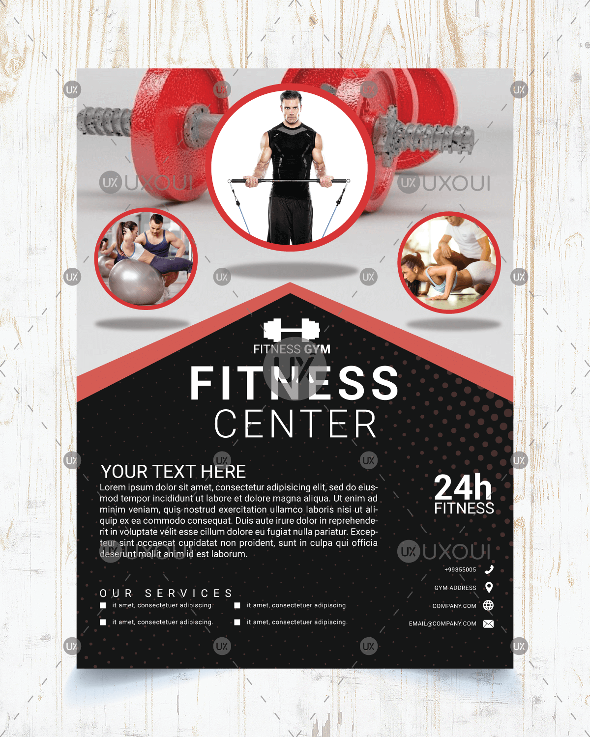 Modern Black And Red Gym Fitness Flyer Template Design Vector Uxoui