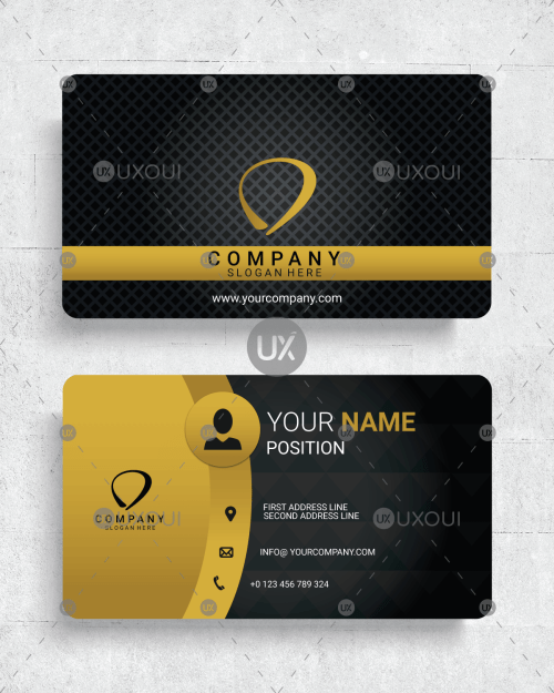 Business cards stationery freelance services marketplace online premium luxury business card design template vector with black yellow color reheart Image collections
