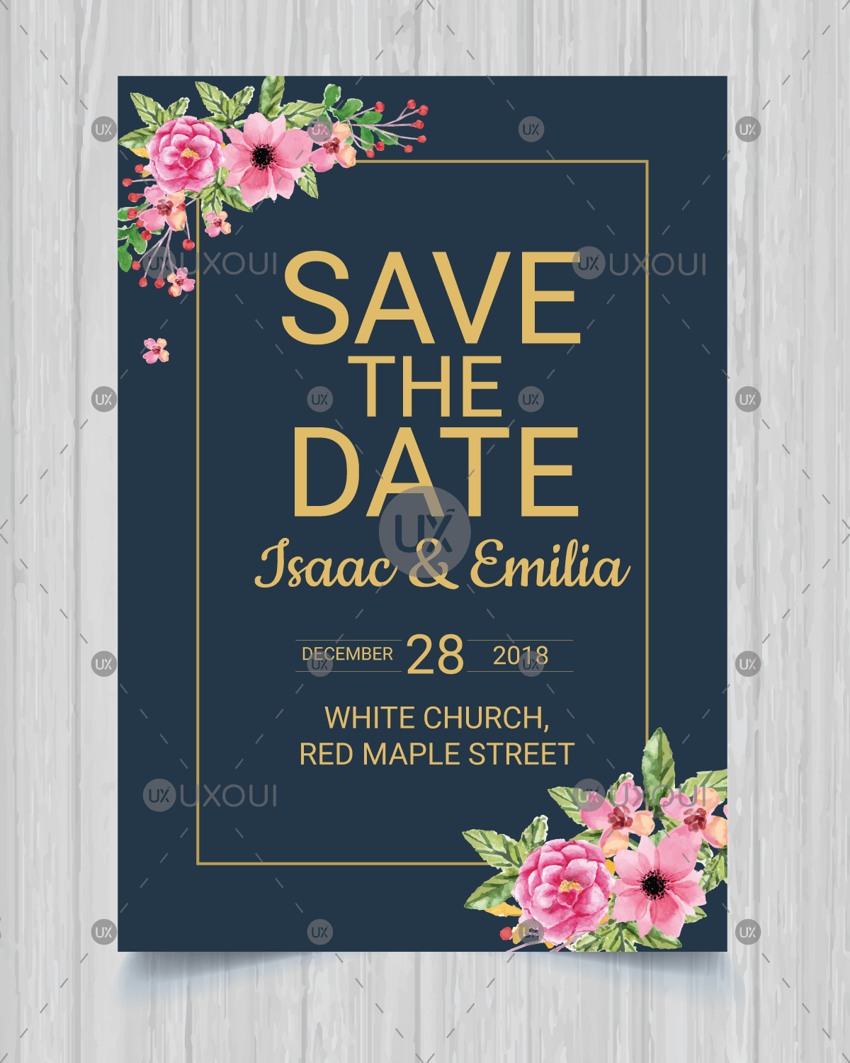 Save The Date Invitation Card Design Wedding Template Vector With Flowers Uxoui