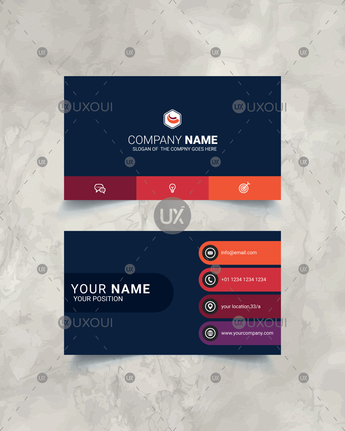 Stylish Modern Business Card Design Template Vector Uxoui